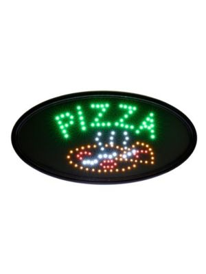 "Alpine 497-07 23""W x 14""H LED Wall Mount ""Pizza"" Sign with Hanging Chain"