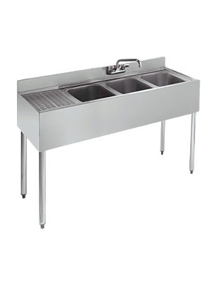Krowne 18-43L 3 Compartment Underbar Sink with Right Drainboard