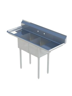 "Sapphire SMS-2-1515D Two Compartment Sink with 15"" Left & Right Drainboard - NSF - 60"" Total Width (15""x15"" Bowls)"