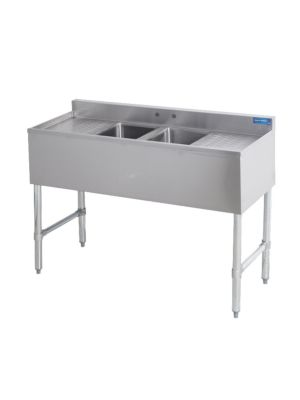 """Sapphire SMBS-2D 48"""" Two Compartment Underbar Sink with 13"""" Left & Right Drainboard"""