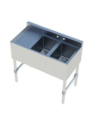 """Sapphire SMBS-2L 36"""" Two Compartment Underbar Sink with 12"""" Left Drainboard"""