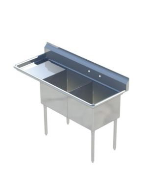 "Sapphire SMS-2-1818L Two Compartment Sink with 18"" Left Drainboard  - NSF - 56 3/5"" Total Width (18""x18"" Bowls)"