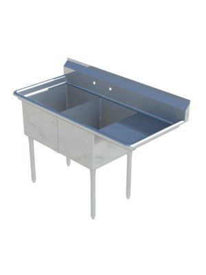 "Sapphire SMS-2-1821R Two Compartment Sink with 18"" Right Drainboard - NSF - 53 3/5"" Total Width (18""x21"" Bowls)"