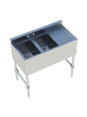 """Sapphire SMBS-2R 36"""" Two Compartment Underbar Sink with 12"""" Right Drainboard"""