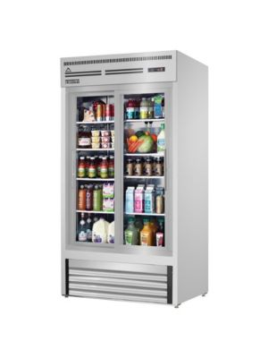 "Everest EMGR33-SS Dual Sliding Glass Door Stainless Steel Refrigerated Merchandiser 33 Cu Ft""  FREE SHIPPING WITH LIFT GATE!"