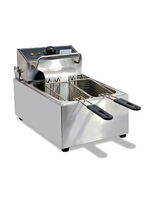"Omcan CE-CN-0006 (34867) 11"" Two Basket Table Top Electric Fryer- 110V"