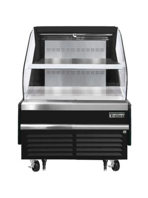 """Everest EOMH-36-B-35-T 36""""W Black Tall Horizontal Open Display Refrigerated Merchandiser 7.4 Cu Ft.  FREE SHIPPING W/O LIFTGATE"""