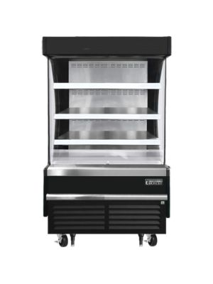 """Everest EOMV-36-B-28-S 37""""W x 28""""D Black Short Vertical Open Display Refrigerated Merchandiser 9.3 Cu Ft. -  FREE SHIPPING W/O LIFTGATE"""