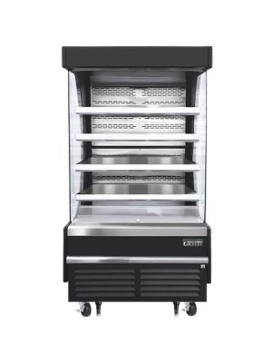 """Everest EOMV-36-B-28-T 37""""W x 28""""D Black Tall Vertical Open Display Refrigerated Merchandiser 12.8 Cu Ft. - FREE SHIPPING W/O LIFTGATE"""
