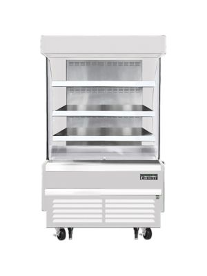 """Everest EOMV-36-W-28-S 37""""W x 28""""D White Short Vertical Open Display Refrigerated Merchandiser 9.3 Cu Ft. -  FREE SHIPPING W/O LIFTGATE"""