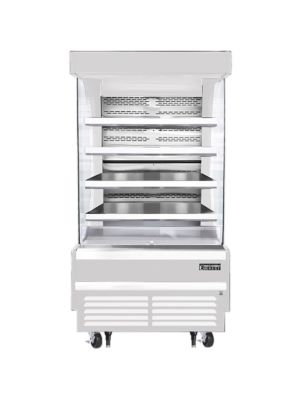 """Everest EOMV-36-W-28-T 37""""W x 28""""D White Tall Vertical Open Display Refrigerated Merchandiser 12.8 Cu Ft. -  FREE SHIPPING W/O LIFTGATE"""