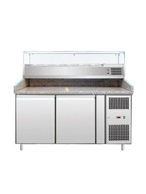 "Omcan PT-CN-0390 (39592) 59-2/5"" Granite-Topped Stainless Steel Refrigerated Pizza Prep Table (Topping Rail Not Included)"