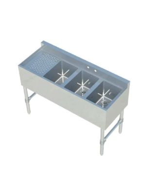 """Sapphire SMBS-3L 48"""" Three Compartment Underbar Sink with 12"""" Left Drainboard"""