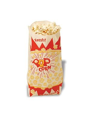 "Winco 41001 Benchmark 1000 Popcorn Paper Bags - 3-1/2""W x 2""D x 8""H"