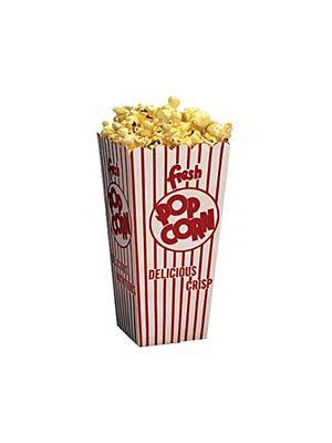 "Winco 41047 Benchmark 100 Count 1-1/4oz Popcorn Scoop Box - 3-1/2""W x 3-1/2""D x 7-1/2""H"