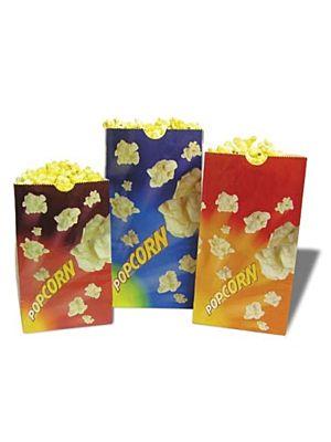 "Winco 41270 Benchmark 100 Count 170oz. Purple Popcorn Butter Bags - 7-1/2""W x 3-3/4""D x 10-3/4""H"