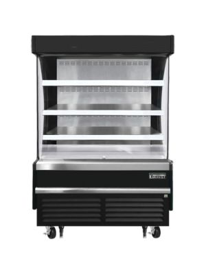"""Everest EOMV-48-B-28-S 48""""W x 28""""D Black Short Vertical Open Display Refrigerated Merchandiser 12.2 Cu Ft. -  FREE SHIPPING W/O LIFTGATE"""