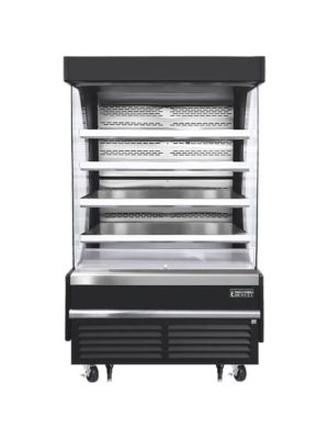 """Everest EOMV-48-B-28-T 48""""W x 28""""D Black Tall Vertical Open Display Refrigerated Merchandiser 16.8 Cu Ft. -  FREE SHIPPING W/O LIFTGATE"""