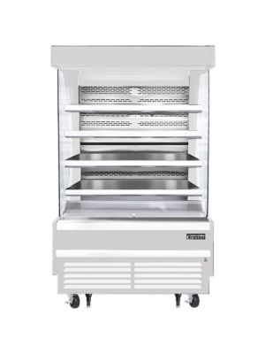 """Everest EOMV-48-W-28-T 48""""W x 28""""D White Tall Vertical Open Display Refrigerated Merchandiser 16.8 Cu Ft. -  FREE SHIPPING W/O LIFTGATE"""
