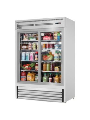 "Everest EMGR48-SS Dual Sliding Glass Door Stainless Steel Refrigerated Merchandiser 48 Cu Ft""  FREE SHIPPING WITH LIFT GATE!"
