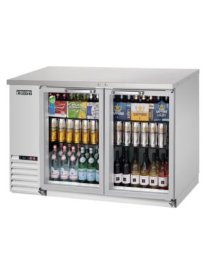 "Everest EBB48G-SS Double Glass Door Stainless Steel Back Bar Cooler 48"" - FREE SHIPPING WITH LIFT GATE!"