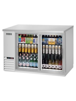 "Everest EBB48G-SD-SS Double Sliding Door Stainless Steel Back Bar Cooler 48"" - FREE SHIPPING WITH LIFT GATE!"