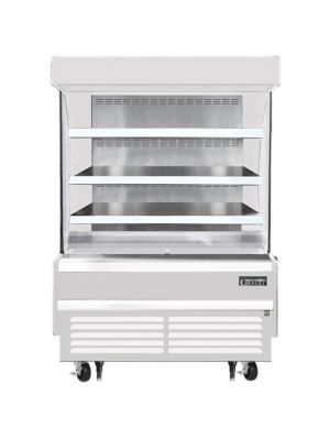 """Everest EOMV-48-W-28-S 48""""W x 28""""D White Short Vertical Open Display Refrigerated Merchandiser 12.2 Cu Ft. -  FREE SHIPPING W/O LIFTGATE"""