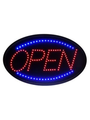 "Alpine 497-02 23""W x 14""H LED Wall Mount ""Open"" Sign with Hanging Chain"
