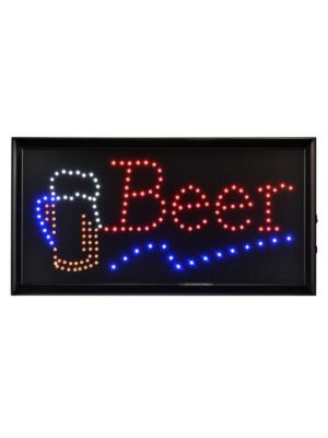 """Alpine ALP497-14 19""""W x 10""""H LED Wall Mount """"Beer"""" Sign with Hanging Chain"""