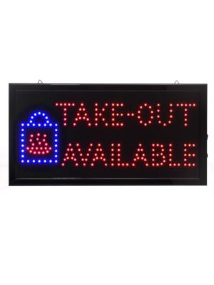 """Alpine ALP497-15 19""""W x 10""""H LED Wall Mount """"Take Out Available"""" Sign with Hanging Chain"""