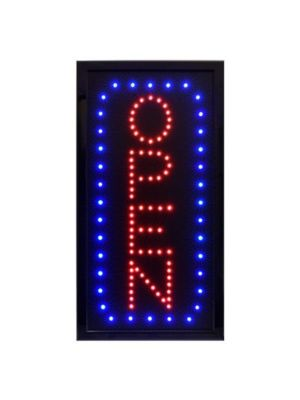 "Alpine 497-04 10""W x 19""H LED Wall Mount ""Open"" Sign with Hanging Chain"