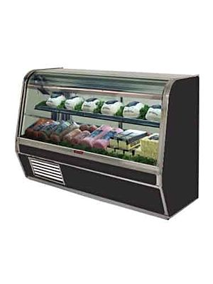 "Howard McCray SC-CDS32E-6C-BE-LED Curved Glass Deli Display Case 74"" (Black)"