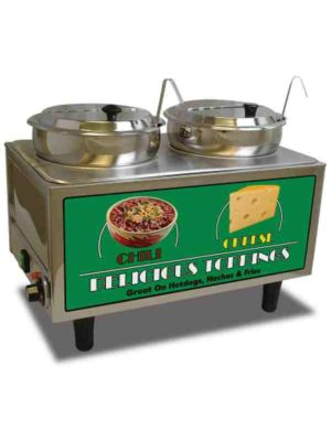 Benchmark 51072A Dual Well Chili & Cheese Warmer with Inset Lids & Ladles, 120V
