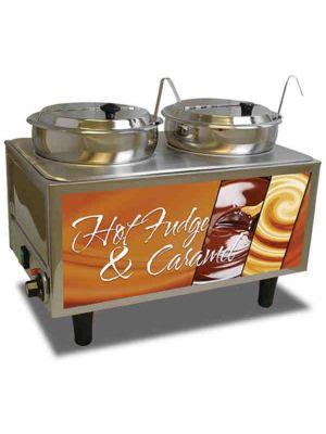 Winco 51072H Benchmark Hot Fudge/Caramel Warmer 2 Lids/Ladles, 120V