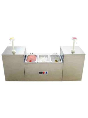 Benchmark USA 52001 Insulated Condiment Station - 2 Pump 3 Pan