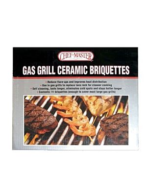 Chef Master 05004CM 1 Bag Gas Grill Ceramic Self Cleaning Briquettes - 60 Pieces