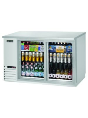 "Everest EBB59G-SD-SS Double Sliding Door Stainless Steel Back Bar Cooler 59"" - FREE SHIPPING WITH LIFT GATE!"