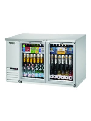 "Everest EBB59G-SS Double Glass Door Stainless Steel Back Bar Cooler 57.75""   FREE SHIPPING WITH LIFT GATE!"