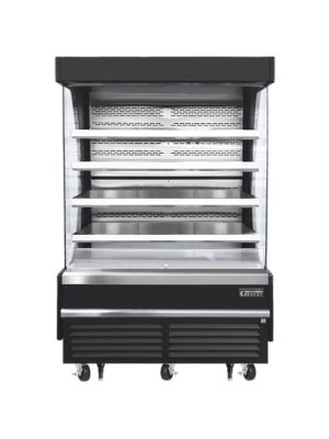 """Everest EOMV-60-B-28-T 60""""W x 28""""D Black Tall Vertical Open Display Refrigerated Merchandiser 21.2 Cu Ft. - FREE SHIPPING W/O LIFTGATE"""