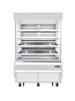 """Everest EOMV-60-W-28-T 60""""W x 28""""D White Tall Vertical Open Display Refrigerated Merchandiser 21.2 Cu Ft. - FREE SHIPPING W/O LIFTGATE"""