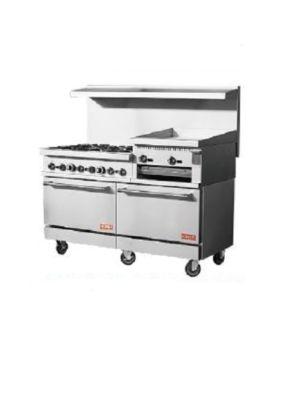 "Kona NJR-6B-24RG-60 59.9"" Gas Restaurant Range with 6 Open Burners, Raised Griddle/Broiler and 2 Ovens"
