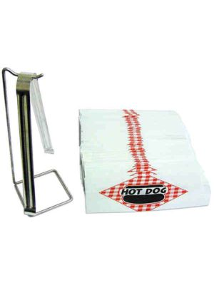 "Winco 66001Benchmark Hotdog Starter Kit with 9"" Tong, Tong Holder and 100 Bags"