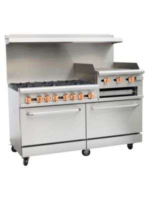 "Copper Beech CBR-6RG24 60""W Gas 6 Burners Restaurant Range with Raised Griddle, Broiler & 2 Standard Ovens - 278,000 BTU"