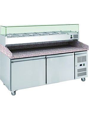 "MVP Group Kool-It PXH3600TN 80""W Granite-Topped Stainless Steel Refrigerated Pizza Prep Table"