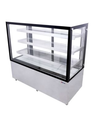 "Omcan RS-CN-0471-S (44384) 60""W Square Glass Floor Model Refrigerated Display Case"
