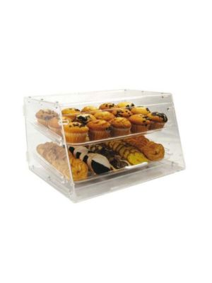 "Winco ADC-2 Acrylic 18"" 2-Tier Countertop Display Case"