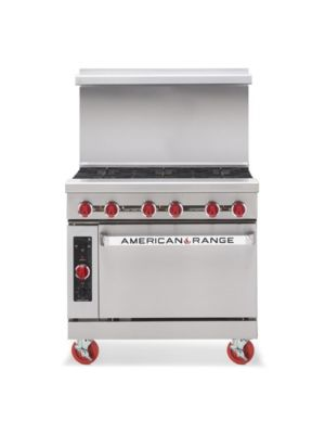 "American Range AR-6-C 36"" Natural Gas 6 Burner Heavy Duty Restaurant Range with Convection Oven - 227,000 BTU"