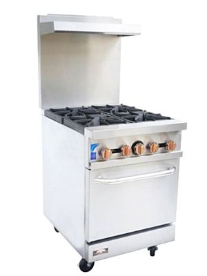 Copper Beech CBR-4 Gas Restaurant Range with 4 Open Burners with Oven