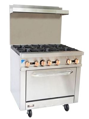 Copper Beech CBR-6 Gas Restaurant Range with 6 Open Burners with Oven