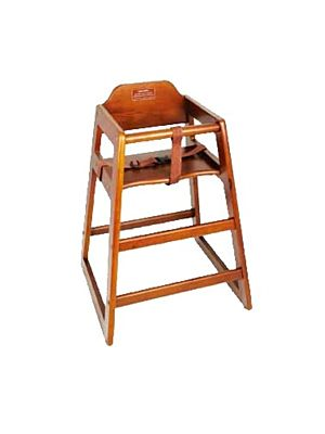 "Winco CHH-104A 20"" Height Walnut Wood Assembled High Chair"